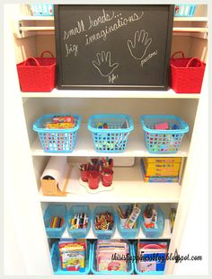 Organized kids arts and crafts closet