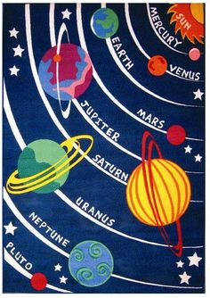 Best Value & Save on Fun Rugs FT 170 Fun Time Solar System Classroom Area Rug. Buy Now & Save You Pick The Savings Fun Rugs FT Get Reasonable Prices Now! Illustration Photo, Illustrations, School Projects, Art Projects, Sun And Earth, Photo Vintage, Space Theme, Space Party, Cool Rugs