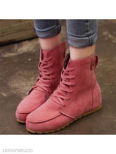 b910467bc2d Women Round Toe Plus Size Lace-up Flat Suede Ankle Boots