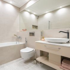 Just the right mixture of aesthetics and safety. Bathroom Lighting Inspiration, Downlights, Make It Simple, Safety, Bathtub, Aesthetics, Led, Security Guard, Standing Bath