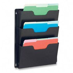Buddy Products Dr. Pocket® Three Pocket Recycled Steel Wall File, Letter Size, Black