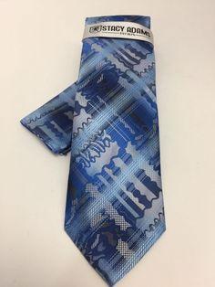Stacy Adams Tie & Hanky Set Blue, Silver & Powder Blue Men's 100% Microfiber New #StacyAdams #TieHankySet