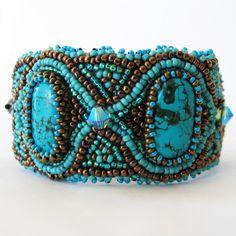 Beadwork Bead embroidery  braceletTurquoise  Howlite  by LIAKURZ, $117.00