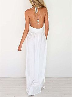 LILBETTER Women's Beach Crochet Backless Bohemian Halter Maxi Long Dress  *Can't get enough of maxi dresses? This crochet top maxi dress is a perfect addiction to your collection.   *This long breezy frock features a halter neck supported by thin straps to show off a little bit of your sexy skin.   *It is made for comfort because of its soft feel cotton blend fabric.   *Look perfect with this maxi dress by pairing it with high heels or strappy sandals. Only choose from LILBETTER. Our..