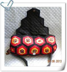 我的黑貓包 -036 Hexagon Log cabin quilt bag -03