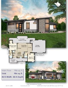 """Striking Modern Prairie Style Under 1000 Square Feet """"Diamond Back"""" answers the call for a fully featured home with a modern prairie exterior, an easily House Plans One Story, Tiny House Plans, Modern House Plans, Modern Prairie Home, Prairie House, Home Buying Process, Buying A New Home, Prarie Style Homes, Selling Your House"""