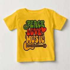 Rasta Peace-Love-Music Baby T-Shirt - click/tap to personalize and buy Consumer Products, Basic Colors, Cotton Tee, Peace And Love, Sensitive Skin, Shirt Designs, Tees, Music, Sleeves