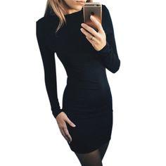 2016 Women Autumn Dress Solid Color Package Hip Dress Ukraine Casual Long-sleeved Plus size Club Party Dresses