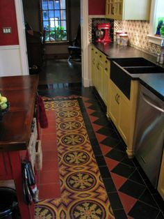 """""""farm sink, custom cabinets, hand made Mexican marble finished concrete floor tile"""""""