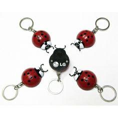 Personalized Ladybug Flashlight With Swivel Keychain - Novelty Keychains