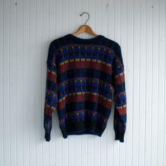 Vintage Plaid Squares Sweater - M