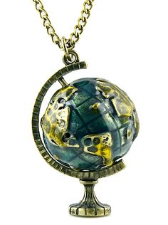 Retro Gold Globe Telescope Necklace 6.26