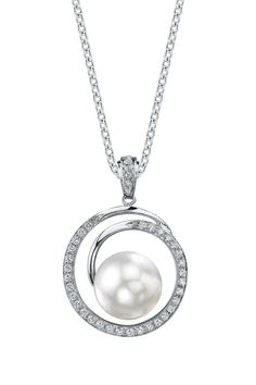 18K White Gold 9mm White South Sea Pearl & Diamond Pendant Necklace