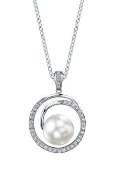18K White Gold 9mm White South Sea Pearl & Diamond Pendant Necklace