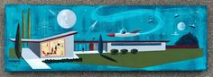 El Gato Gomez Painting Retro Mid Century Modern Atomic Ranch Space Robot SciFi | eBay