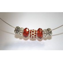 Mix and Mingle Glass Metal Lined Beads - Red D