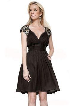 #FashionBug Womens Black Beading #Sexy #Elegant Short Sleeve Short #Party #Dress www.fashionbug.us