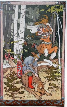 Ivan Bilibin Tale about Ivan-tzarevich, Fire-bird and Grey Wolf