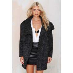 Big City Bouclé Coat ($105) ❤ liked on Polyvore featuring outerwear, coats, grey, grey wrap coat, gray coat, asymmetrical coat, wrap coat and coffeeshop coats