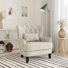 Lifestyle Solutions Lille Tufted Accent Club Chair with Nailhead Trim, Cream Fabric - Walmart.com - Walmart.com Accent Chairs For Living Room, Living Room Decor, Living Spaces, Small Accent Chairs, Bedroom Chair, Master Bedroom, Bedroom Furniture, Paint Furniture, Bedroom Decor
