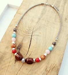 Beaded Silver Necklace, Multi Colors, Red, Pink, Turquoise, Gray, Brown, Silver Beads, Silver Chains - Bohemian, Boho Chic - For Her