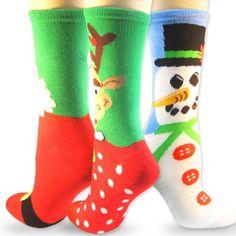 Soxnet Christmas & Holiday 3 Pairs Combined Women Crew Socks, Reindeer, Snowman, Large Santa $9.99 #topseller