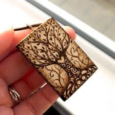 Pyrography tree of life sycamore wood necklace. Chunky wooden