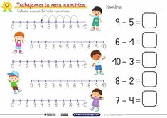 Mental Maths Worksheets, Kindergarten Math Worksheets, Worksheets For Kids, Preschool Activities, Learning Spanish For Kids, Math For Kids, Math Exercises, Expository Writing, Elementary Spanish