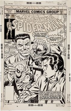 Cover to Amazing Spider-Man 169 by John Romita and Frank Giacoia Comic Book Pages, Comic Page, Comic Book Artists, Comic Book Covers, Comic Artist, Marvel Comic Books, Comic Books Art, Spiderman Art, Spiderman Original