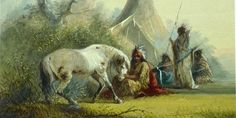 Alfred Jacob Miller Shoshone Indian and his Pet Horse Fine Art Print/Poster High quality art print/poster available in sizes or Nevada, Jacob Miller, Legends And Myths, Native American Artists, American Indians, Le Far West, Mountain Man, Indian Art, Native Indian