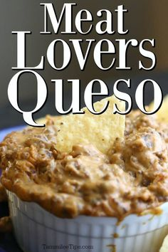 Super easy to make Crock Pot Meat Lovers Queso Dip Recipe! Filled with hamburger beef, bacon, cheesy goodness! Perfect for Super Bowl Football Parties or any family dinner. This slow cooker recipe is great for a crowd!