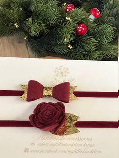 Christmas set Headband Burgundy Flower and Bow Glitter