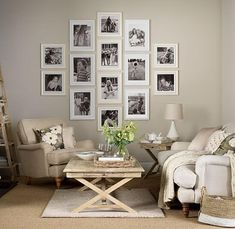 Simple living room designs neutral living room with family picture gallery simple French Country Living Room, French Country Decorating, Living Room Designs, Living Room Decor, Living Rooms, Bedroom Decor, Bedroom Modern, Decor Room, Living Room Sofa