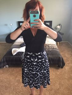 I think this skirt and top are perfect - I too am a bustier girl and think this is adorable.  Skirt is so cute and hits the perfect length.