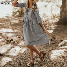 45da563c0a Plus Size ZANZEA 2018 Summer Women Elegant O Neck Half Sleeve Loose Casual  Striped Dress Pockets Baggy Boho Beach Vestido Robe