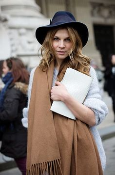 #ClemencePoesy and rocking the  camel scarf and big bowler hat. Yup.