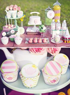 Baked Goods Wedding Table Pink, Green, Yellow, and White. Precious.