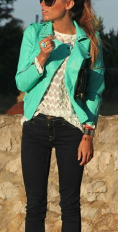 Bright mint/teal leather jacket. Perfect!