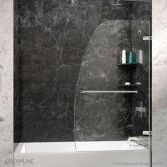 DreamLine Aqua Uno H x to W Frameless Hinged Chrome Bathtub Door (Clear Glass) at Lowe's. The Aqua Uno tub door from DreamLine blends a fresh look with a sophisticated frameless design for an amazing value. The Aqua Uno tub door combines Tub Shower Doors, Custom Shower Doors, Bathtub Doors, Frameless Shower Doors, Shower Enclosure, Shower Floor, Shower Stalls, Glass Shower, Acrylic Shower Base