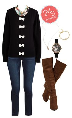 """""""Better and Better Sweater in Black"""" by modcloth ❤ liked on Polyvore featuring Madden Girl and Olivia Burton"""