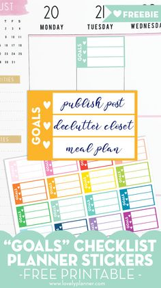 Use this set of FREE printable goals checklist planner stickers to help you keep your top 3 priorities of the day in mind and decorate your planner. Passion Planner, Goals Planner, Free Planner, Happy Planner, Planner Diy, Work Planner, Budget Planner, Planner Ideas, Printable Planner Stickers