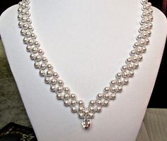 18 Handwoven Bridal necklace is designed with by QCJewelryDesigns