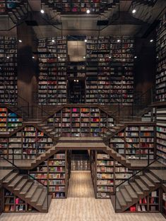 Straight out of Inception or the grand staircase from 'Hogwarts Castle' in the Harry Potter series is a whimsical, mind-tripping bookstore in China. Zhongshuge Bookstore in Chongqing city has an interior that's the stuff of … Chongqing, Beautiful Library, Dream Library, Grand Library, Future Library, Library Books, Library Architecture, Architecture Design, Deco Dyi