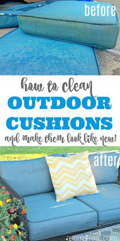 household hacks Are your patio furniture cushions dirty or mildewed after sitting outside over the fall and winter seasons? Let me show you How to Clean Outdoor Cushions within minutes Lawn Furniture Cushions, Garden Cushions, Diy Outdoor Furniture, Cleaning Patio Furniture, Furniture Ideas, Furniture Online, Furniture Design, Outside Cushions, Outside Patio