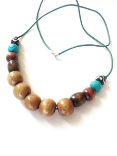 Ethnic large wood bead necklace The Olivia by Absynia on Etsy, $16.00