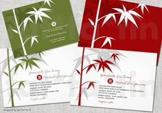 Bamboo Zen Double Happiness Chinese Wedding Invitation Suite | Custom Modern Stylish Simple Chic Oriental Wedding Invite PRINTED / PRINTABLE by fatfatin