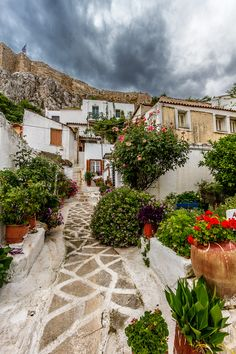 Anafiotika, Athens, Greece - despite Athens being a concrete jungle of cheaply built high rise apartments - this tiny ancient settlement under the Acropolis is a remnant of village living My Athens, Athens Greece, Attica Greece, Mykonos Greece, Crete Greece, Santorini, The Places Youll Go, Places To See, Secret Places