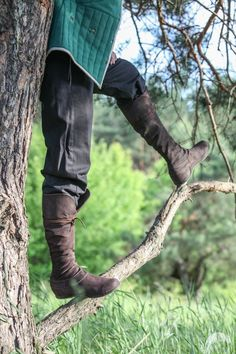 Medieval Men's High Leather Boots Forest