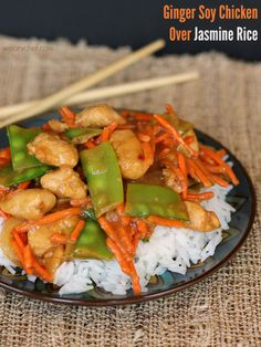 Ginger Soy Chicken over Jasmine Rice - Tasty dinner ready in 15 minutes! #successrice