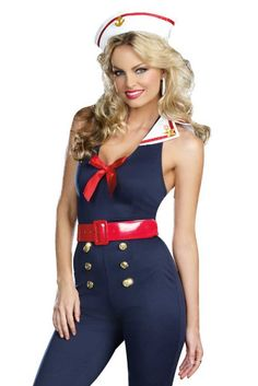 Pinup Girls Costumes - Bon Voyage Sailor Girl Costume with Pantsuit, Middy Back Collar, Hat